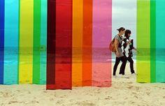 Rainbow installation on the beach