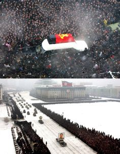 "Snow fell on Pyongyang as the funeral procession of North Korea's ""Dear Leader"" Kim Jong-il snaked its way from the Kumsusan Memorial Palace to Kim Il Sung Square and back again during today's three-hour-long official state ceremony.    Leading the cortege was Kim's ""great successor,"" his son Kim Jong Un, who was accompanied by senior officials.    More notable, however, were the vehicles by their side: The three jet-black, American-made, Lincoln Continental limos carrying Kim's body, his…"