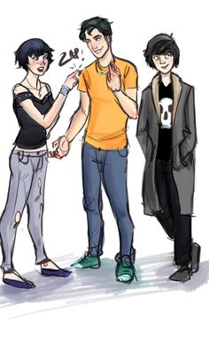 kids of the big 3. From left to right: Thalia Grace, Daughter of Zeus, Percy Jackson, Son of Posideon, and Nico di Angelo, Son of Hades.