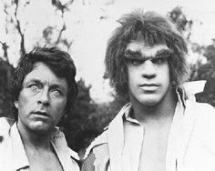 The first image I ever saw of Bill Bixby and Lou Ferrigno in THE INCREDIBLE HULK. Even at the age of three, I can remember wondering if he's be wearing his classic purple trousers from the comics!