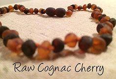 Raw Cognac Cherry Baltic Amber Necklace for Baby, Infant, Toddler, Big Kid.