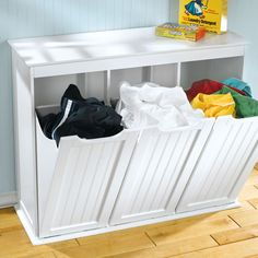 Tilt out laundry hamper can be described the best help to hide your dirty clothes. They are usually wire hamper installed inside the wooden cabinet.