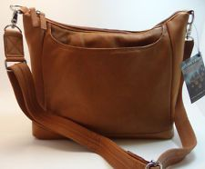 GTM90T GUN TOTE'N MAMAS Concealed Carry Leather Left or Right Hand CROSSBODY TAN.  Holster inside the zippered side compartment.