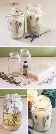DIY Pressed Flower Candles