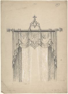 Design For Gothic Curtains And Curtain Rod, Charles Hindley And Sons,  British, London