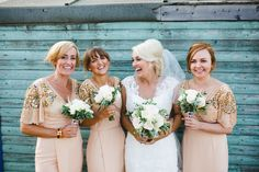 Virgos Lounge Bridesmaids Nude Peach Blush Dresses Sleeves Sequin Stylish Eclectic Fun Seaside Wedding http://www.livvy-hukins.co.uk/