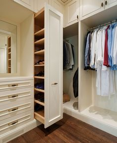 closets - walk-in built-in cabinets vertical pull-out shoe cabinet Amazing walk-. - closets – walk-in built-in cabinets vertical pull-out shoe cabinet Amazing walk-in closet with floor to ceiling creamy white cabinets and vertical Closet Storage, Master Bedroom Closet, House, Closet Designs, Home, Build A Closet, Remodel Bedroom, Closet Bedroom, Built In Cabinets