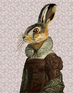 Madam Hare 14x11 Original Illustration Art Print Mixed Media Painting Animal Painting Wall Decor Wall hanging Wall Art Rabbit on Etsy, £15.00
