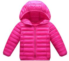 Sheng Xi Girls Solid Hooded With Pockets Zip-up Lightweight Down Coat RoseRed2 110cm. Please read the description carefully first.