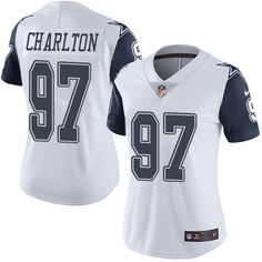 Women's Nike Dallas Cowboys #97 Taco Charlton Limited White Rush NFL Jersey