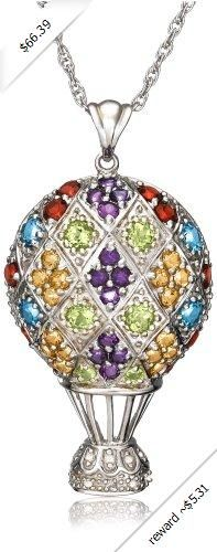 Sterling Silver Multi-Color Hot Air Balloon Pendant