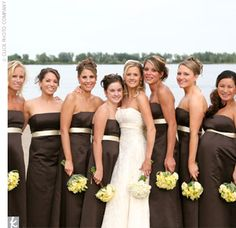 two toned bridesmaids dresses with white bouquets and the bride would have orange, red, yellow, green bouquet