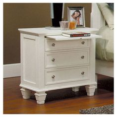 Glenmore 3 Drawer Nightstand in White - guestroom - wayfair $254