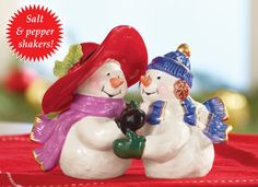Winter Snowman Couple Salt & Pepper Set