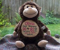 Personalized baby gift monogrammed monkey birth announcement baby gift personalized baby gift monogrammed baby blanket monkey embroidered baby gift personalized by world class embroidery negle Images