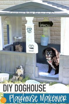 Make a cozy DIY doghouse with this playhouse makeover! Transform a plastic playhouse into a doghouse your pup will love. Such a cute playhouse makeover! Love this idea for a doghouse to give your dog a retreat of his own. Little Tikes Playhouse, Plastic Playhouse, Playhouse Outdoor, Puppy Care, Dog Care, Dog Houses, Play Houses, Allergic To Dogs, Dog Rooms