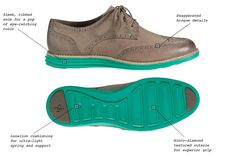 Cole Haan. Womens Lunargrand Leather & Suede Wingtip Oxford Shoes