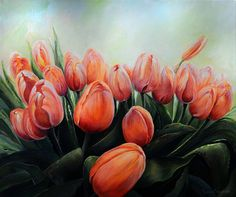 Tulip Festival Floral Painting by Neadeen Masters - Acrylic