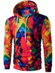 Drawstring Zigzag Graphic Hoodie - COLORFUL