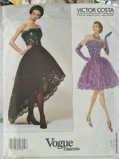 Inspiration: Designer cocktail dress short strapless, UNCUT pattern Vogue American Designer Victor Costa by LadyJanetvintage, $35.00