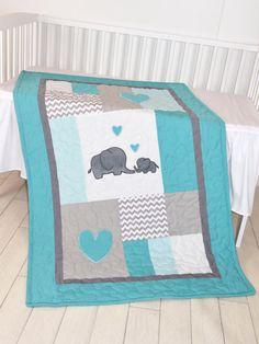 Manta de elefante, el elefante del edredón, manta de Patchwork turquesa bebé azul y gris Una nueva combinación de color del elefante mantas, un azul turquesa y gris - chevron tejido gris para que coincida con un dormitorio de bebé. El elefante lindo bebé manta bonita para niñas y