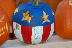 If Captain America were to decorate a pumpkin, this is what it would look like. Carving and displaying pumpkins is not without its hazards: http://landscaping.about.com/od/healthconcerns/qt/carving_pumpkin.htm