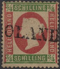 """Old German States Heligoland, Michel 9. 1873, 3 / 4 S pale green / rose with one-line cancel """"Heligoland"""", two tips of the teeth supplemented and small tear at the bottom closed, otherwise perfect quality, used very rare stamp, photo expertize C. Brettl BPP"""