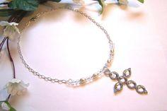 Cross necklace Bib necklace Christian by HeavenlyTreasuresLG