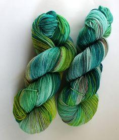 Hand Dyed Sock Yarn - Superwash Merino Nylon - 400 yards - Glowing