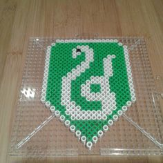 Harry Potter Slytherin crest perler beads by Eleka Peka