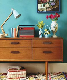 vintagedresserandtealpaint retro home diy ideas for decor colourful flea market thrift style