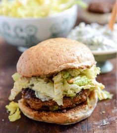 Turkey Burger with Creamy Gorgonzola and Chili Garlic Slaw|17 Healthy Superbowl Recipes To Make For Game Day,see more at: http://diyready.com/17-healthy-superbowl-recipes-to-make-for-game-day/