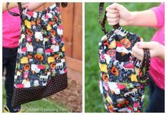 This drawstring trick or treat bag is so cute, and so easy to sew! Brandy at Gluesticks has a tutorialshowing how you can sew this drawstring trick or treat bag. The drawstring works as a closure and also handles… Read more ... Halloween Sewing, Halloween Crafts, Halloween Night, Halloween Ideas, Plastic Pumpkins, Mini Pumpkins, Mini Diaper Bag, Trick Or Treat Bags, Pumpkin Crafts