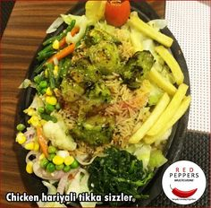 Green, packed with goodness and irresistibly tasty Chicken Hariyali Tikka Sizzlers for you. Fuel your drive for great #PuneSizzlers on your way back home only at Red Peppers Sizzler Restaurant in #Pune, Model colony. Visit http://www.redpeppers.restaurant to know more.