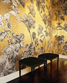 revestimientos mosaicos para un inviernoy navidad de oro-