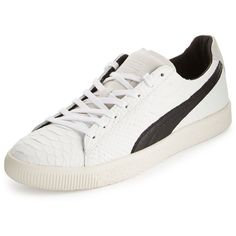 Puma Men's Clyde MII Snakeskin-Textured Low-Top Sneaker (330 CNY) ❤ liked on Polyvore featuring men's fashion, men's shoes, men's sneakers, white, mens low profile shoes, mens snake skin shoes, mens snakeskin shoes, puma mens sneakers and mens low profile sneakers