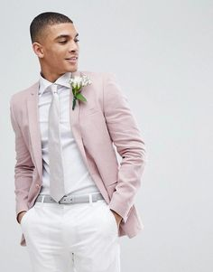 Wedding Suits Asos Wedding Super Skinny Blazer In Pink Linen Asos Wedding, Tuxedo Wedding, Wedding Groom, Wedding Suits, Wedding Attire, Linen Wedding Suit, Magenta Wedding, White Wedding Flowers, Groom Attire