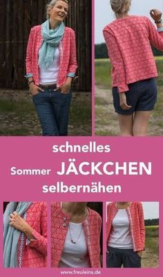 Sewing pattern and sewing instructions for the fast summer jacket Betty # Jäckchen betty Here is a design example of Dani (Prülla) from my sewing team www.de/schnittmuster-jaeckchen-betty Source by Poncho Knitting Patterns, Sewing Patterns Free, Free Sewing, Clothing Patterns, Pattern Sewing, Crochet Patterns, Sewing Projects For Beginners, Knitting For Beginners, Sewing Hacks