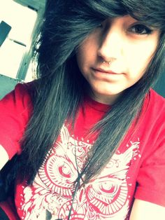 Pretty short dark hair with septum piercing