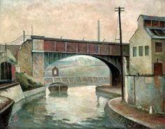 """Canal at Bow"" by Walter Steggles: 1931 Camden London, Camden Town, London Art, East London, Landscape Art, Landscape Paintings, Heinrich Vogeler, Bow Art, Painting Gallery"