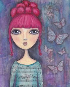 Butterfly Girl Whimsical Art Print by Run Away Violet