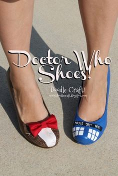 Upcycle a pair of flats or heels into funky fun Doctor Who Tardis Heels!