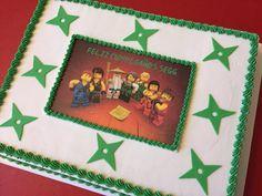Ninjago sheet cake with edible image and fondant ninja stars.