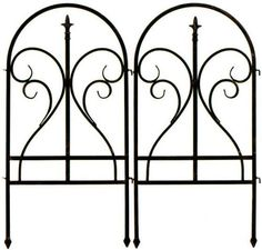 """Finial Fences, 36""""Hx36""""W, BLACK by Home Decorators Collection. $39.00. Gate: 36""""H x 72""""W x .25""""D.. Long: 36""""H x 144""""W x .25""""D.. Short: 36""""H x 36""""W x .25""""D.. Our Finial Fences, with their elegant scrolled design helps, keep pests away from prized plants and add privacy to any yard. The brushed bronze finish, curved lines and classic ball-finial design lends a stately sophistication that's sure to be the talk of the neighborhood. A classic way to define beds and ..."""