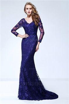 Sheath/Column V-neck Sweep/Brush Train Lace Evening Dress