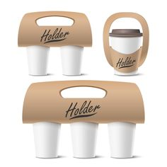 Coffee Cups Holder Set Vector Realistic Mockup Empty Packaging For Carrying One Two Three Cups Hot Drink Take Away Cafe Coffee Cups Holder Mockup Isolated Illustration Vector and PNG Food Packaging Design, Beverage Packaging, Coffee Packaging, Branding Design, Takeaway Packaging, Coffee Shop Branding, Cafe Branding, Identity Branding, Corporate Design