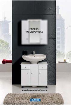 Mueble con ruedas para colocar bajo un lavabo con pedestal. No necesita instalación