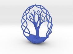 Earth Tree Ornament 3d printed Art Accessories Blue Strong & Flexible Polished