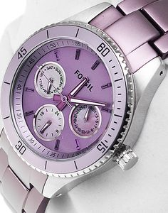 Image via Watches Ladies watch womens watch vintage Image via Fossil Women's Stella Purple Aluminum and Stainless Steel Watch Image via luxury watches 2015 Image via Stylish Watches, Luxury Watches, Cool Watches, Watches For Men, Fossil Watches, Rolex Watches, Purple Jewelry, Jewelry Accessories, Purple Accessories