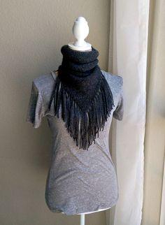 Boho Knit Scarf with Fringe Boho Fringe Triangle Infinity Scarf by TheSnugglery